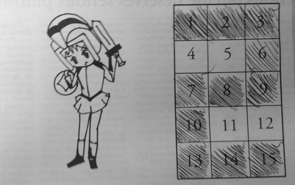 """Trojan Puzzle - Issue #2: Oh no! The Trojan Warrior is stumped! He forgot his homework at school and is locked out. In order for him to get inside, he has to insert a certain combination for the code. His only clue is, """"Open with a two, but leave the four."""" Color in the boxes to match the description above. Hint: Take it as literally as possible and don't get caught up with individual numbers. SOLUTION: In order to solve the puzzle, you must shade a certain number of boxes in such a way that it forms a number two (essentially, start in the top left corner and snake your way around to the bottom right), leaving four boxes unshaded."""