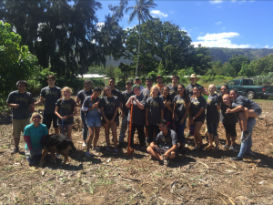 "(Photo courtesy of Saige Alip (12)) In Camp Mokuleia's ""Garden of Hope"" each plant has a significant meaning and is deliberately placed. The staff took time to explain this significance to the various MHS Choir volunteers during their last trip in November."